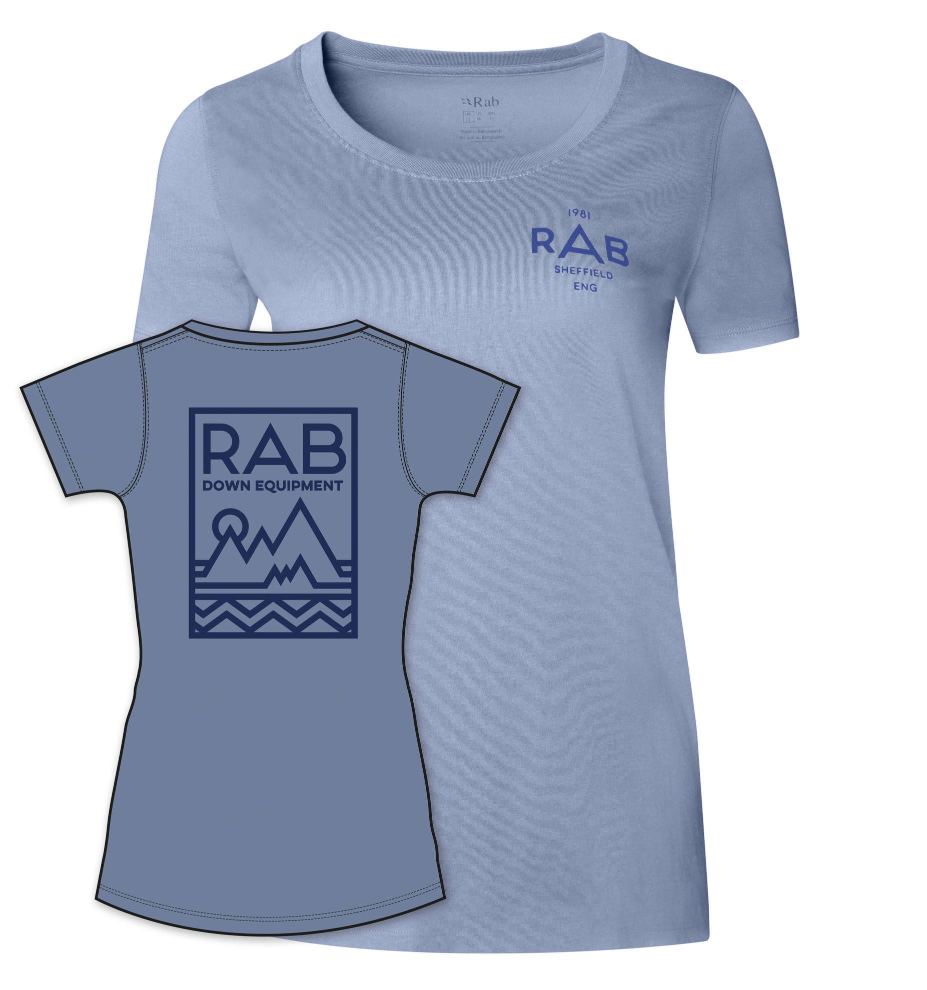 Blå T-skjorte til dame med logo på ryggen