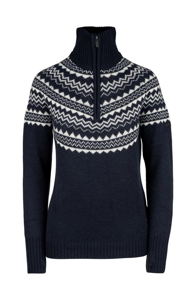 Mørkeblå genser med hvitt mønster til dame