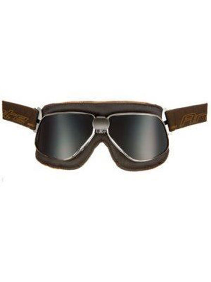 Bilde av ARIETE VINTAGE GOGGLE,Brown leather,Chrome frame, Fume lens