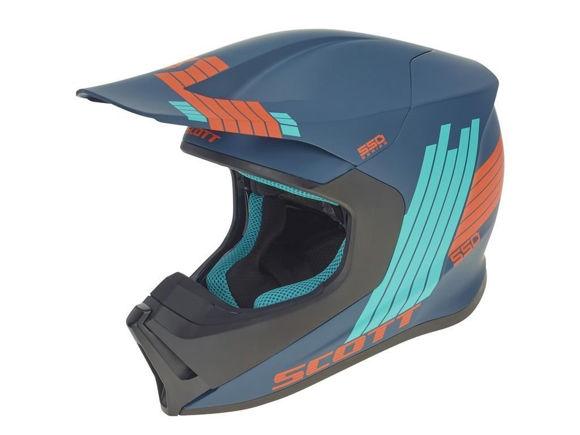 Bilde av Scott 550 Stripes crosshjelm - blå/orange i