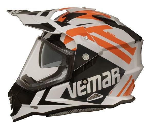 Bilde av midlertidig utsolgt Vemar Kona Desert Pearl hjelm med solvisir Orange/Hvit/Sort  *