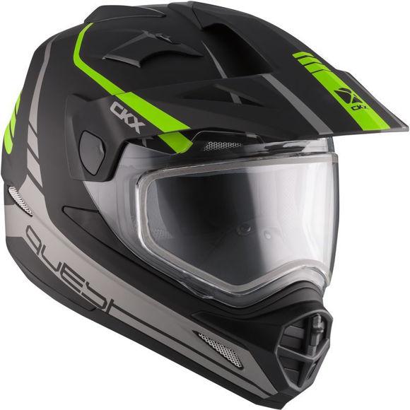 Bilde av CKX  QUEST RSV med elektrisk visir Straightline hjelm snøscoter Matt grøn i