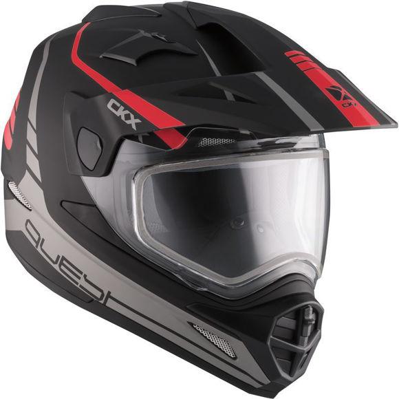 Bilde av CKX  QUEST RSV elektrisk visir Straightline hjelm snøscoter med Matt red i