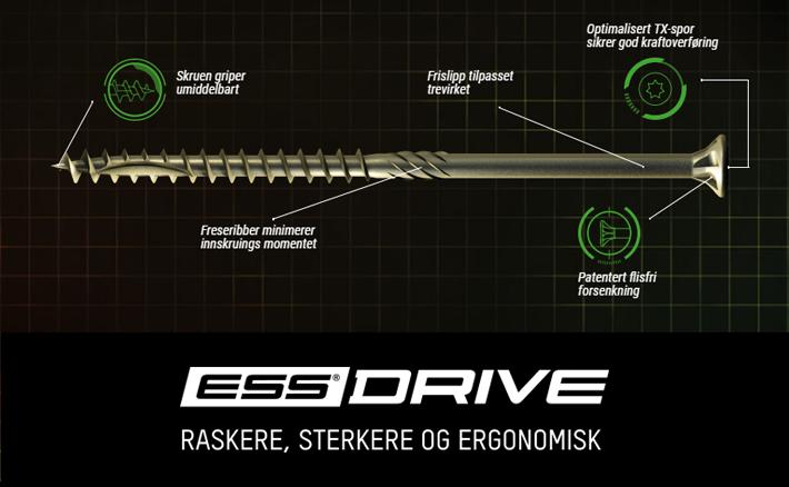 ESSDRIVE TRESKRUE 5X90 SENK CORRSEAL 100 STK/PK