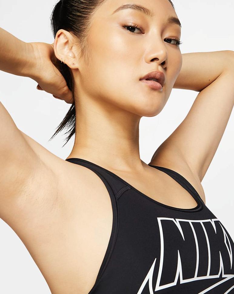 Bilde av Nike swoosh futura bra black/white BV3643-010