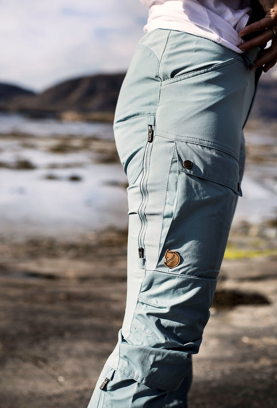 Fjällräven keb trousers curved w reg 563 562 clay blue mineral blue