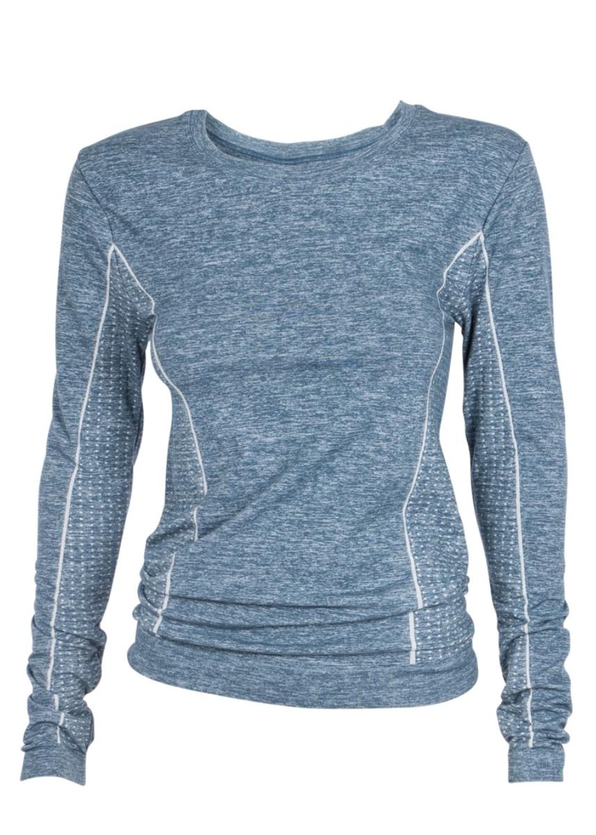 Bilde av Bamboo melange sweater, petrol blue SS19-2-20-21