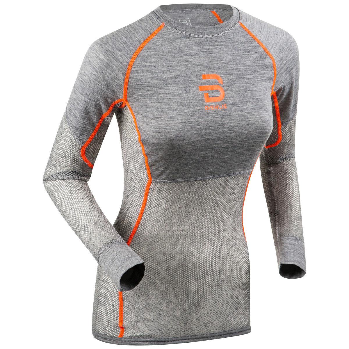 Bilde av Dæhlie  Airnet Wool Long Sleeve Wmn 38000 Shocking Orange