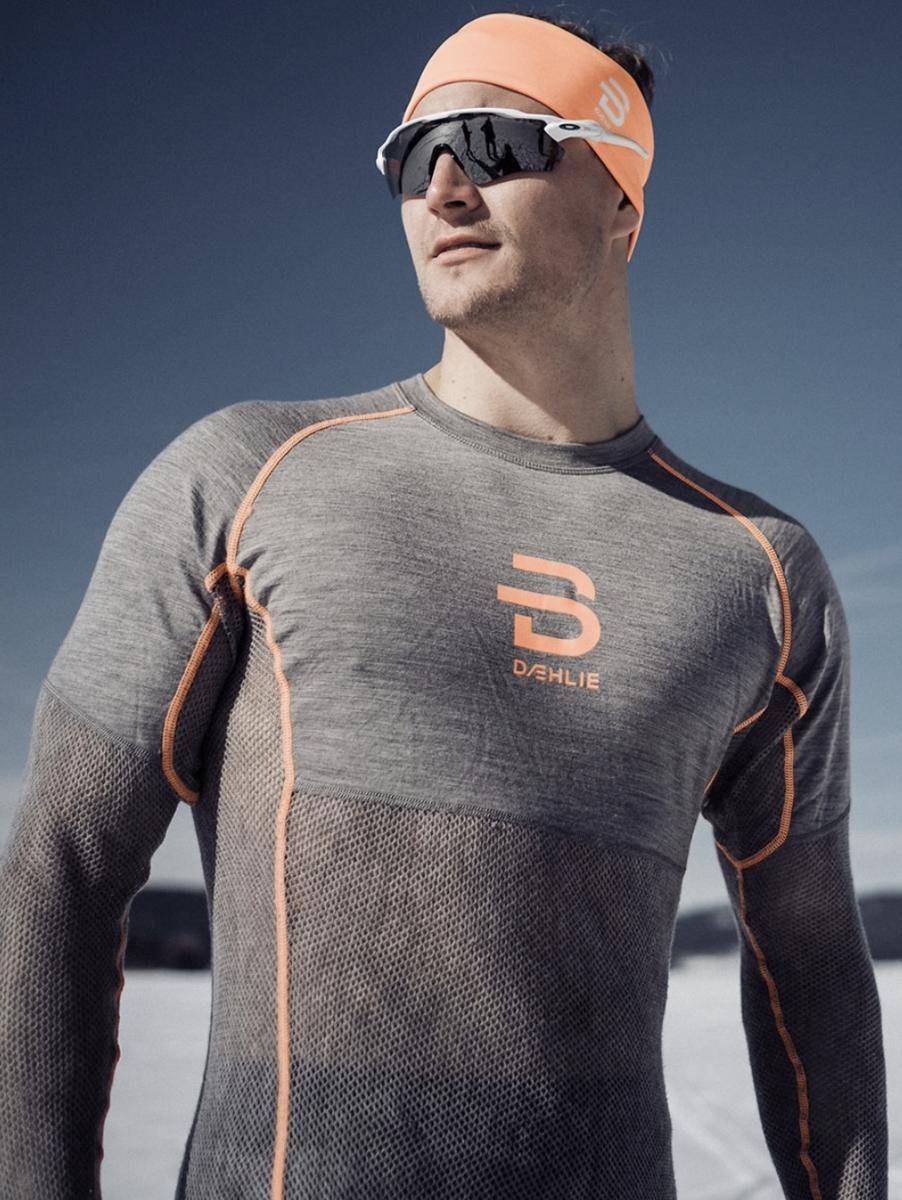 Bilde av Dæhlie  Airnet Wool Long Sleeve 38000 Shocking Orange