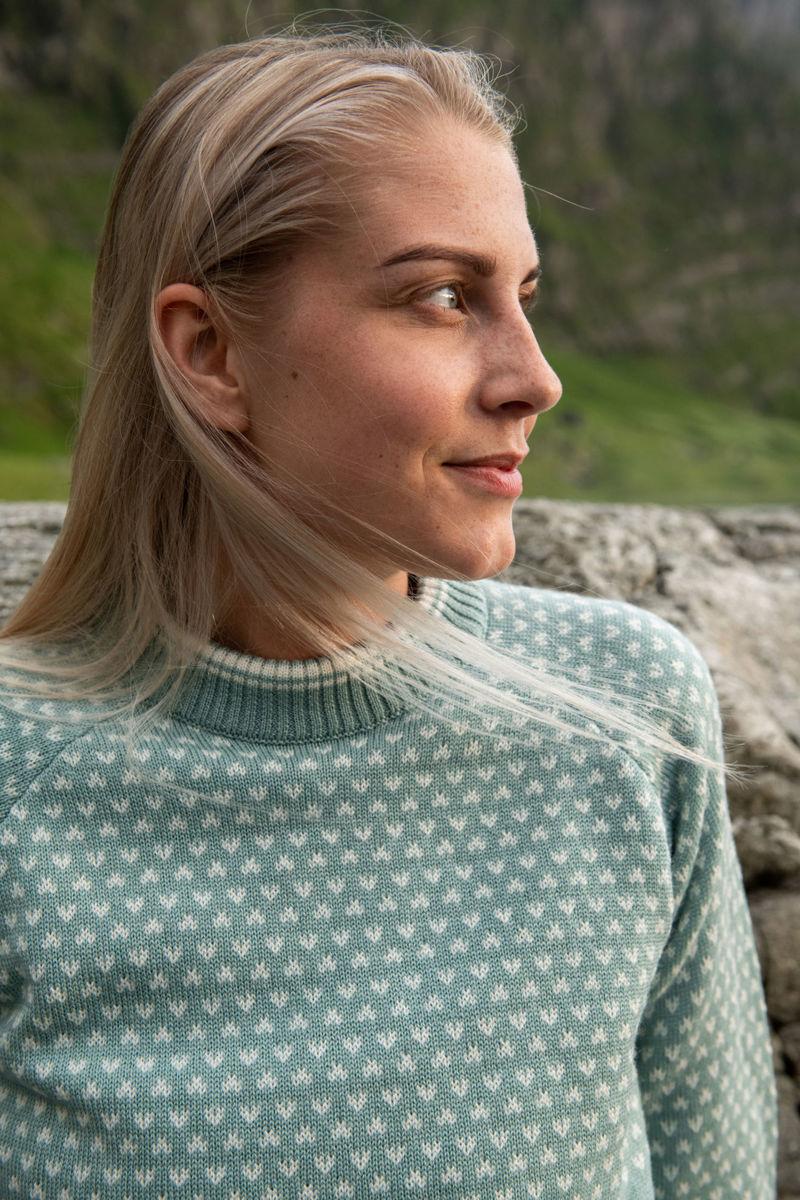 Bilde av Bergans  Alvdal Wool W Jumper 14277 Misty Forest/Vanilla White