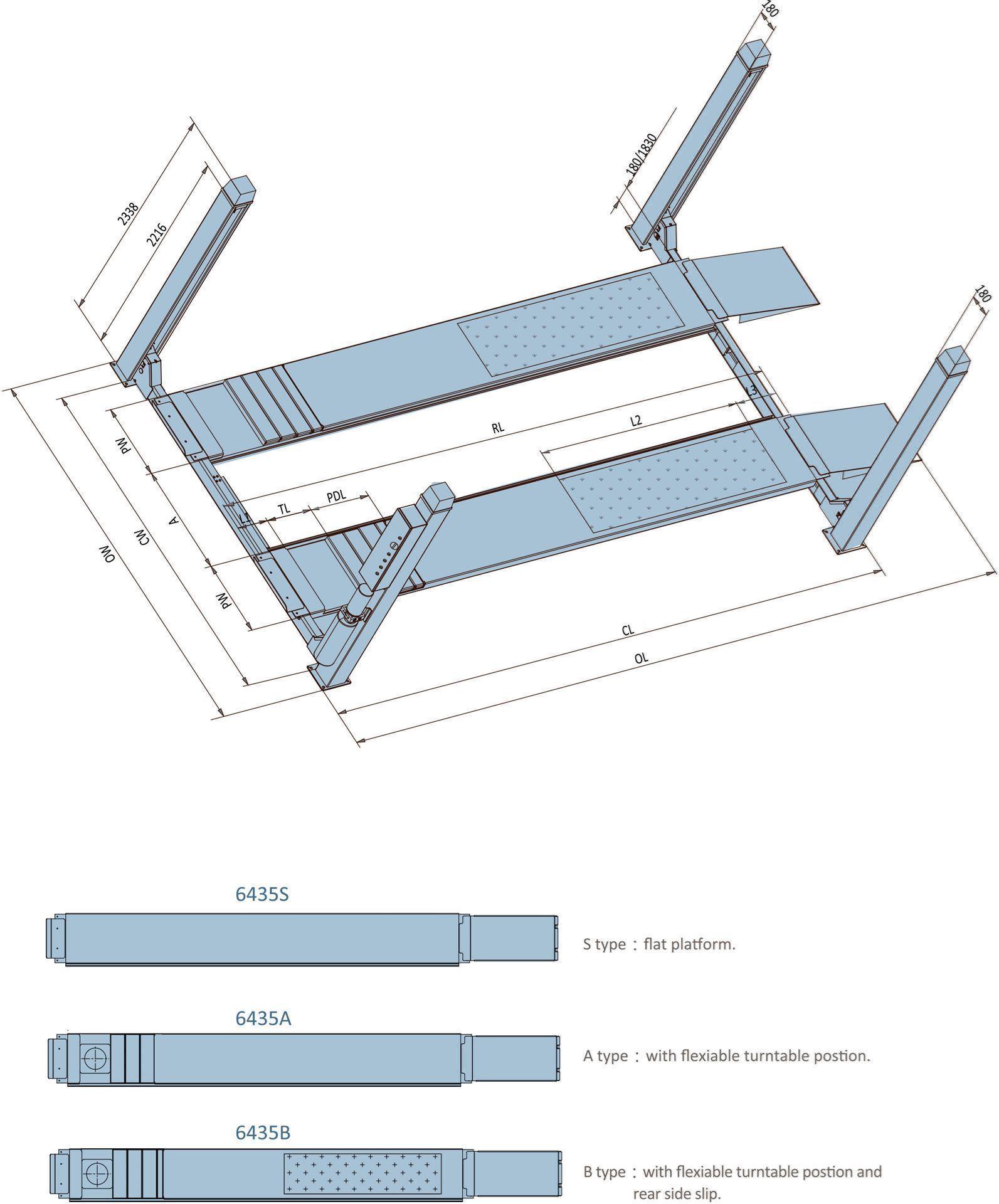 4-søylet løftebukk fra Nordic Lift