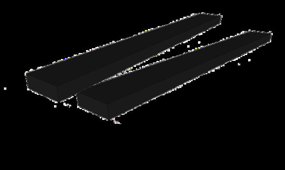 Lange og lave foam pader.  Løfter på hele bilens kanal 1500 x 150 x 50 mm 2stk