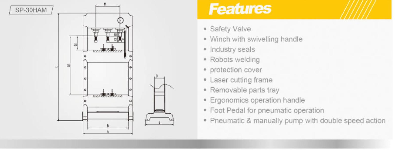 Snit hydraulisk presse 30 tonn med luftgang