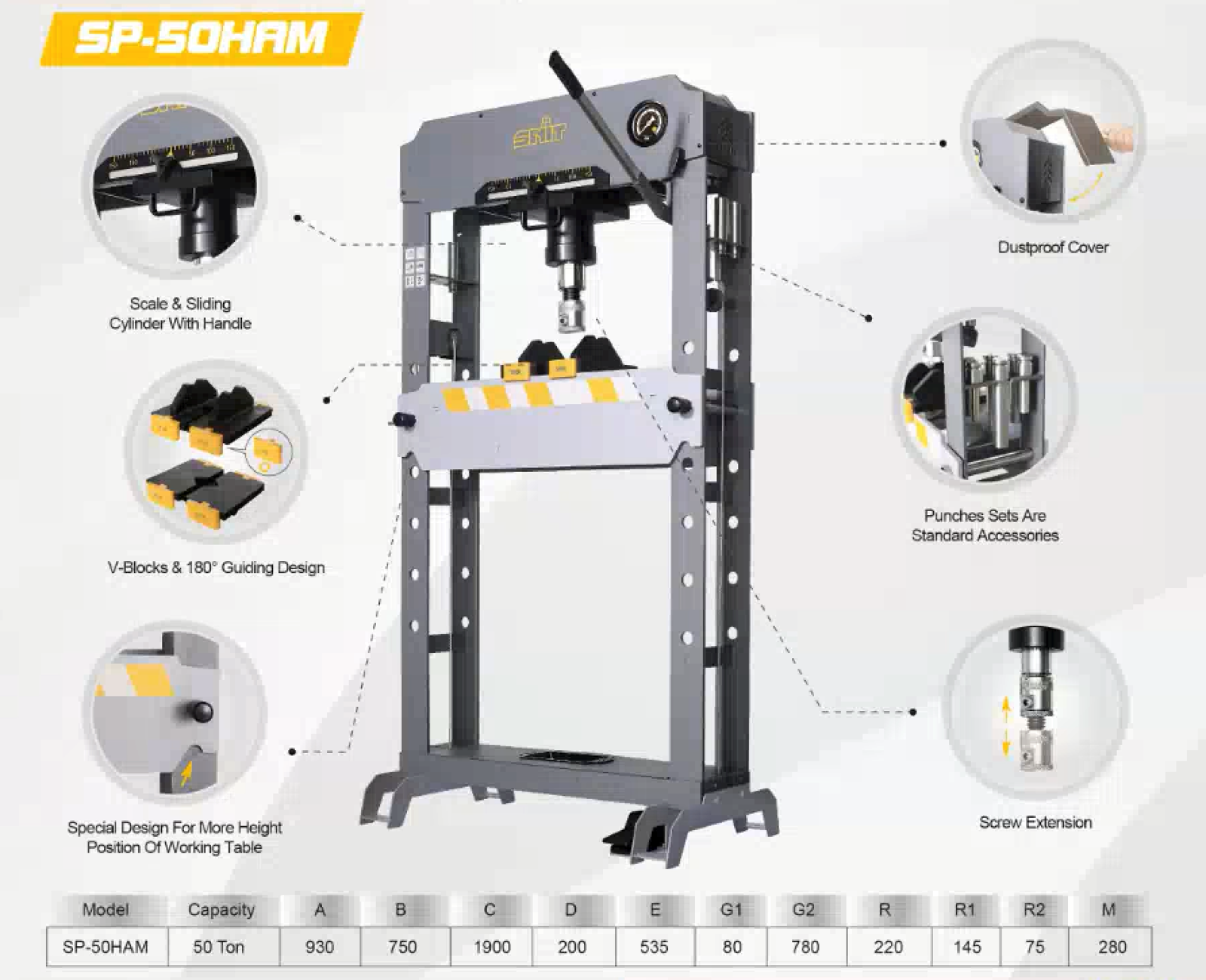 Snit hydraulisk presse 50 tonn med luftgang