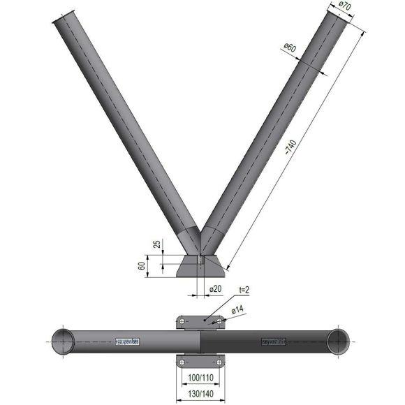 dobbel lanseholder 2x730mm -rørdiamter 60mm