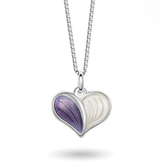 Smykke Lilla Hvitt hjerte i sølv