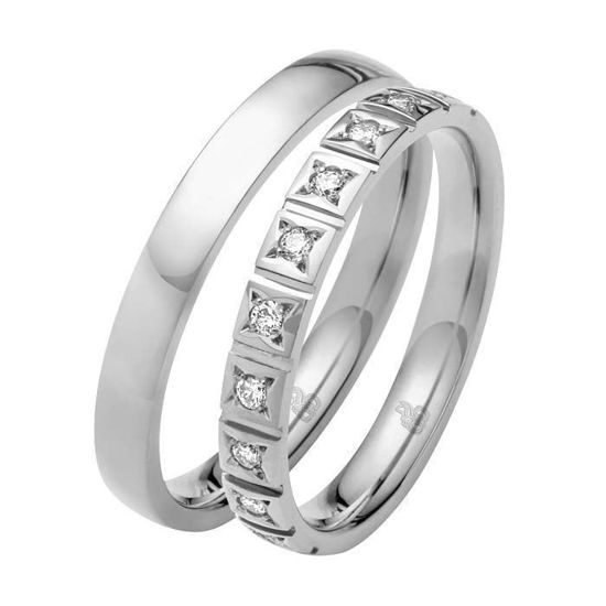 Giftering & diamantring 0,15 ct W-Si i gull 9 kt, 3 mm -110350900