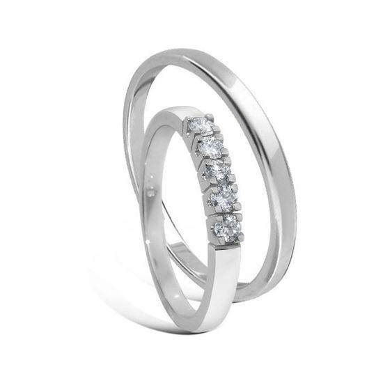 Giftering & diamantring Iselin 0,25ct hvitt gull 14kt, 3 mm - 11530-8505050