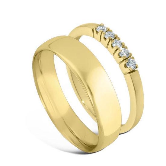 Giftering & diamantring Iselin gult gull, 5 mm - 1450-85050300