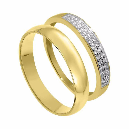Giftering & diamantring 0,08 ct gult gull, 4 mm - 1240-33070080