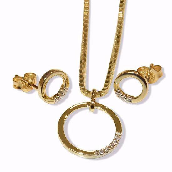 Smykkesett i gult gulls med 0,05ct - 290905