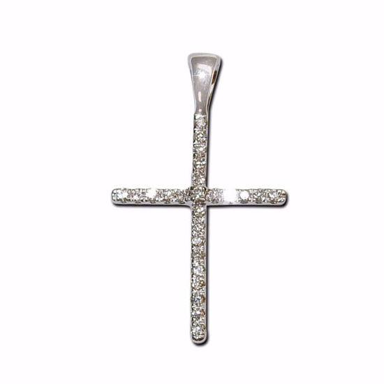 Kors i hvitt gull med diamant 0,07ct w-si-790147001