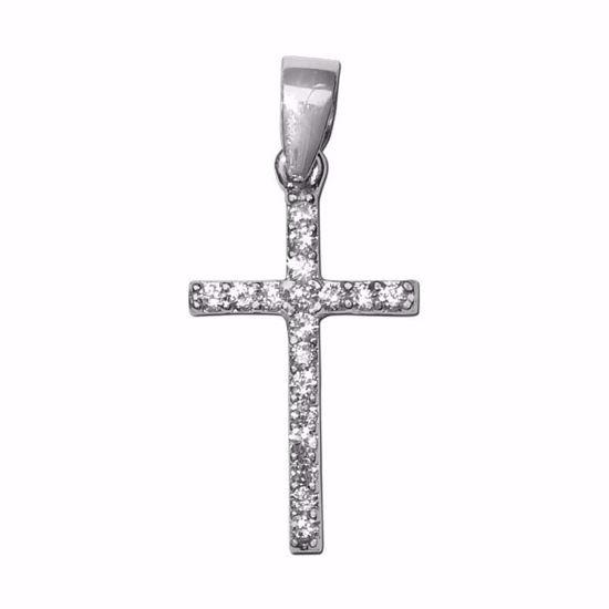 Kors i hvitt gull med zirkonia 14kt/585 -790147010