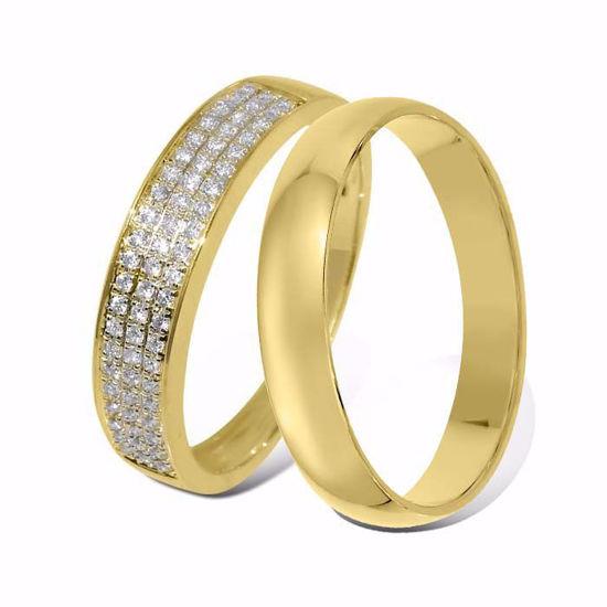 Giftering & diamantring 0.16 ct gult gull, 4 mm - 33070160-1240