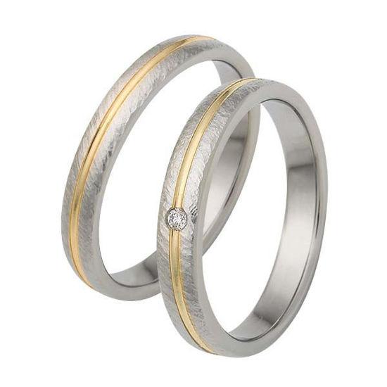 Gifteringer i stål & gult gull, 3,5 mm. RAUSCHMAYER - 1160090
