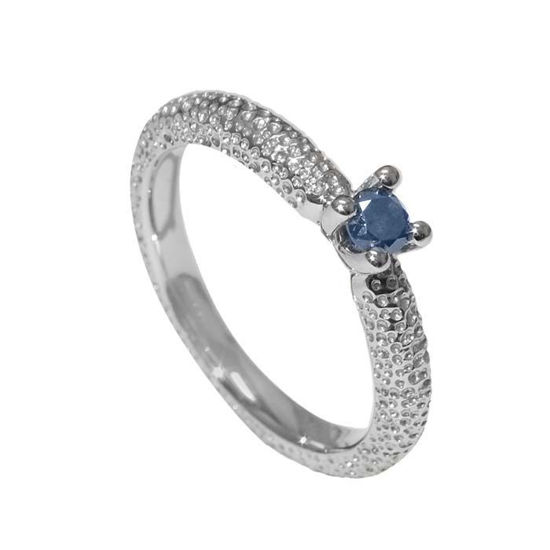 Ring hvit gull med 0.20 ct blå diamant - 79993199