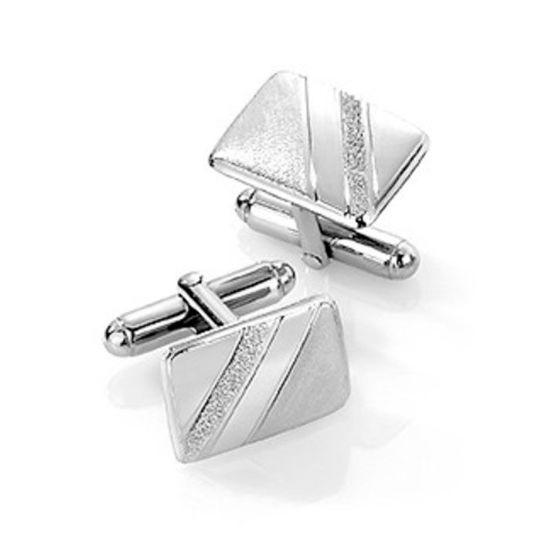 Mansjettknapper i sølv med metall bakstykke. Rhodinert - 63806